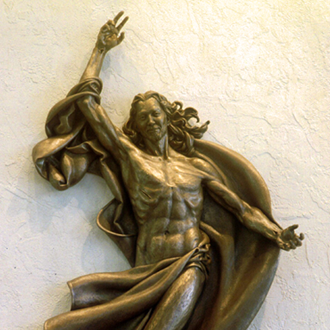 resurrection jesus christ sculpture ascending happy muscular